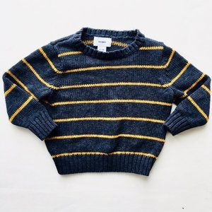 Old Navy Softest Grey with Yellow Stripe Sweater